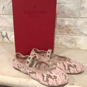 Valentino Rockstud Nude Pink Mesh Lace Classic